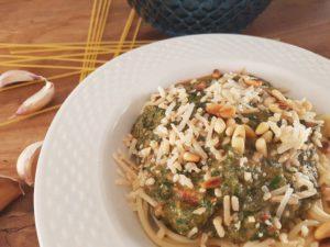 Spaghetti met spinazie en geitenkaas