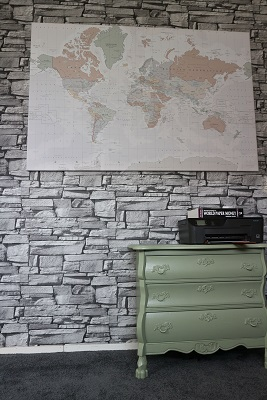 Wereldkaart op canvas in je interieur