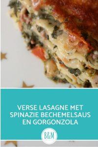 Lasagne met spinazie gorgonzola bechemelsaus zonder pakje