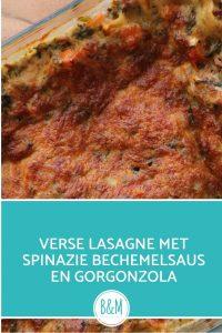 Verse lasagne zonder pakje met bechemelsaus spinazie en gorgonzola
