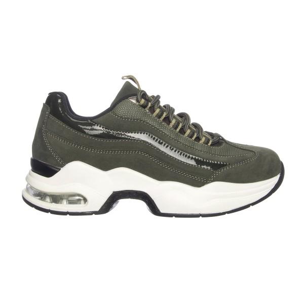 donkergroene dad sneakers