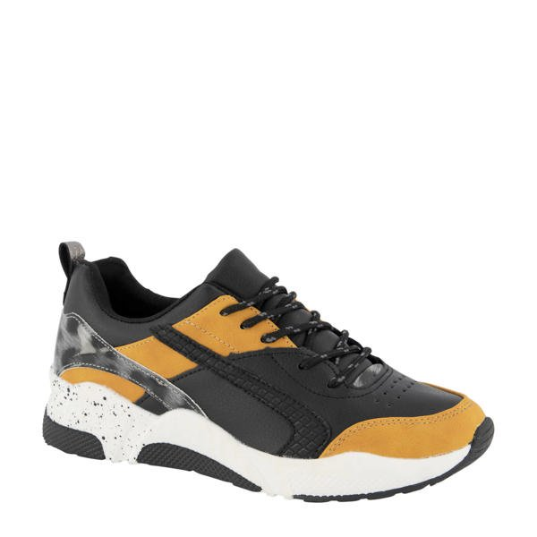 dad sneakers met okergeel en zwart