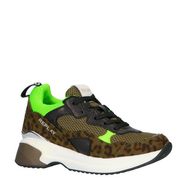 donkergroene dad sneakers replay